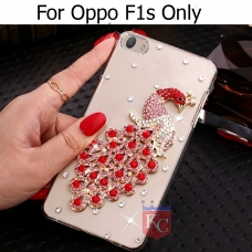 Crystal Pink Diamonds Love Peacock Transparent Soft Back Cover for Oppo F1S  - Red